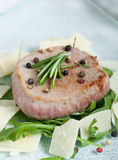Delicious Beef on arugula salad and parmesan Royalty Free Stock Images