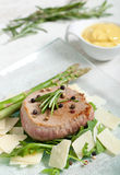 Delicious Beef on arugula salad and parmesan Stock Image