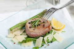 Delicious Beef on arugula salad and parmesan Royalty Free Stock Photo