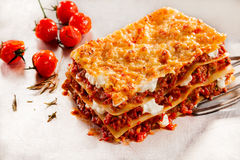 Delicious beef lasagne with roasted tomatoes. Delicious homemade Italian beef lasagne with roasted or oven-baked tomatoes on a serving spatula over a textured royalty free stock photos