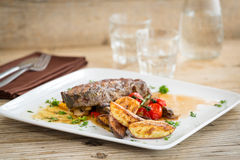 Delicious beef meat with sweet potatoes Royalty Free Stock Photography