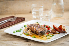Delicious beef meat with sweet potatoes Stock Photo