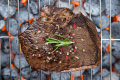 Delicious beef meat with vegetable on a barbecue grill. Royalty Free Stock Images