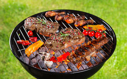 Delicious beef meat with vegetable on a barbecue grill. Stock Photos