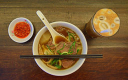 Delicious Beef Noodle Soup Served in a Bowl Stock Image