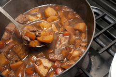 Delicious beef stew cooking in a pot Royalty Free Stock Image