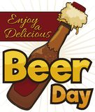 Delicious, Refreshing Beer in Opened Bottle to Celebrate Beer Day, Vector Illustration. Delicious beer bottle, being opened and spreading liquid and foam, ready stock illustration