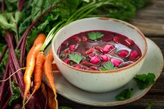 Delicious beetroot soup made of fresh beetroots royalty free stock images