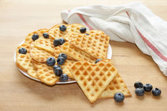 Delicious Belgian Waffles with Blueberry. Delicious Belgian Waffles with Fresh Blueberry Stock Photo