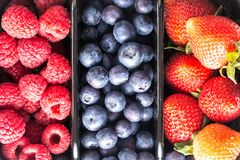 Delicious berries. Blueberries, strawberries and raspberries as a background. Top view. Healthy summer food and lifestyle.  Stock Photo