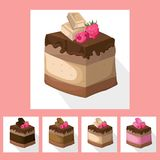 Delicious berry chocolate Cake collection decor Vector illustration Royalty Free Stock Photo