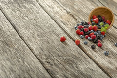 Delicious berry fruits, strawberries, blueberries, raspberries, Royalty Free Stock Photos