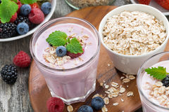 Delicious berry smoothies with oatmeal in a glass Royalty Free Stock Image
