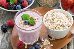 Delicious berry smoothies with oatmeal, top view Royalty Free Stock ...