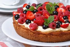Delicious berry tart with strawberries, raspberries, mint. Delicious berry tart with strawberries, raspberries, currants, mint and cream close up on the table Stock Images