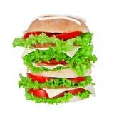 Delicious big hamburger isolated on white Royalty Free Stock Photos