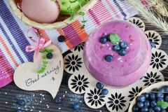 Delicious bilberry smoothie, detox yogurt or milkshake with fres Royalty Free Stock Images