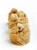 Delicious birds nest baklava with cashew, focus in the middle Royalty Free Stock Photo