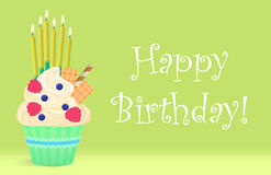 Delicious Birthday cupcake with candles on light background. Happy birthday. Stock Images