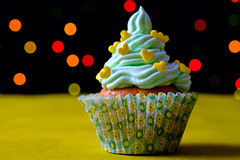 Delicious birthday cupcake on light background Stock Photo
