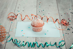 Delicious birthday cupcake Royalty Free Stock Photography