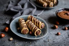 Biscuit tubes filled with hazelnut cream and chocolate topping Royalty Free Stock Photos