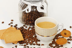 Delicious biscuits with hot coffee Stock Images