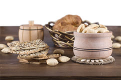 Delicious biscuits in a wooden bowl Stock Photography