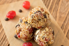 Delicious bites with cherry, cranberry, almond and chocolate royalty free stock image