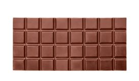 Delicious black chocolate bar on white background. Top view Stock Photo
