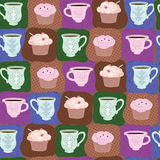 Delicious. Black coffee in the cup and sweet cake stock illustration