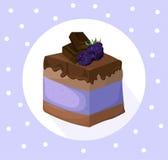 Delicious blackberry chocolate Cake collection decor Vector illustration Stock Photography