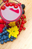 A Delicious blackberry,raspberry and blueberry juice Royalty Free Stock Photo
