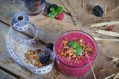 Delicious blackberry and raspberry smoothie, detox yogurt or mil Stock Photography