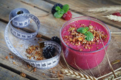 Delicious blackberry and raspberry smoothie, detox yogurt or mil Royalty Free Stock Image