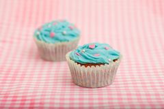 Delicious blue birthday cupcake Royalty Free Stock Photo