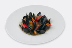 Delicious blue cooked mussels Royalty Free Stock Photo
