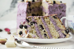 A delicious blueberry cake in the cut Royalty Free Stock Image