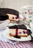 Delicious blueberry cheesecake Stock Images