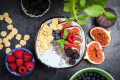 Delicious blueberry and fig yoghurt royalty free stock images