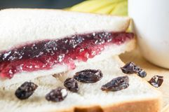 Delicious blueberry jam and currants on the bread. Morning breakfast have brown bread with blueberry jam and currants. It is healthy food and good for you Stock Photos