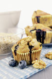 Delicious blueberry, oatsmeal and buttermilk muffins Royalty Free Stock Photography