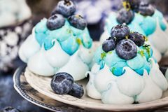 Delicious blueberry Pavlova meringue cakes decorated with cream stock photo