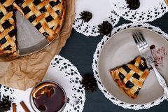 Delicious, blueberry pie Stock Images