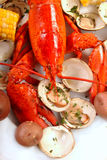 Delicious boiled lobster dinner Royalty Free Stock Images