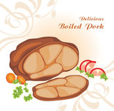 Delicious boiled pork. Label for menu design Royalty Free Stock Photography