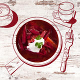 Delicious borsch soup. Stock Photos