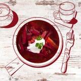 Delicious borsch soup. Stock Photos