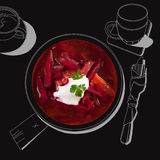 Delicious borsch soup. Royalty Free Stock Photo