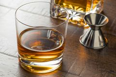 Delicious Bourbon Whiskey Neat. In a Glass stock image